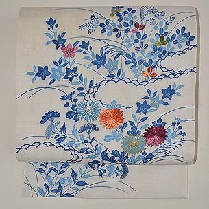 帷子解き名古屋帯(桔梗に萩、菊の図)