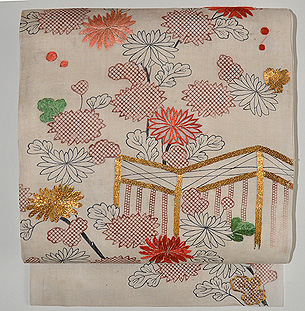 帷子解き名古屋帯(菊に茶屋辻の図)