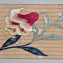 百合の刺繍名古屋帯 前中心