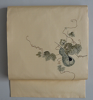 瓢箪に夏虫の図絽名古屋帯