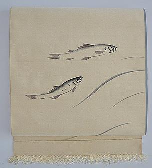 流水に鮎の図袋帯