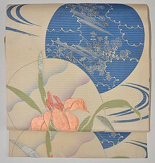 団扇に花の図絽名古屋帯