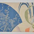 団扇に花の図絽名古屋帯 前中心