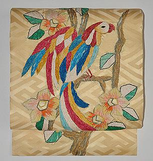 花喰い鳥リボン刺繍名古屋帯