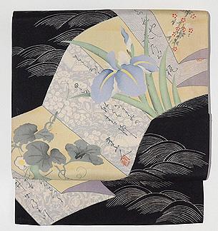 折り本に菖蒲の図染め名古屋帯