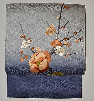 梅に椿刺繍帯
