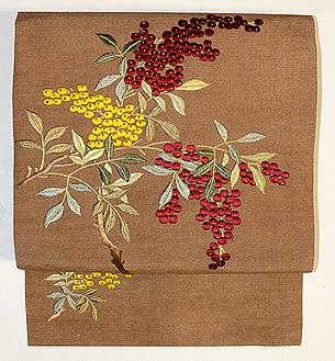 南天刺繍名古屋帯