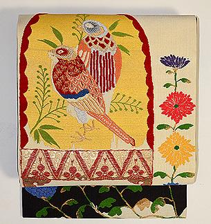 手織錦 花喰い鳥の名古屋帯