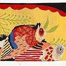 手織錦 花喰い鳥の名古屋帯 前中心