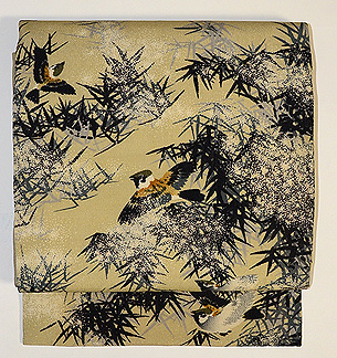 竹に雀名古屋帯