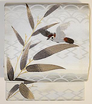 笹に雀刺繍名古屋帯