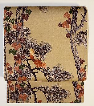 松の木に栗鼠の名古屋帯