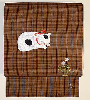 猫の刺繍名古屋帯