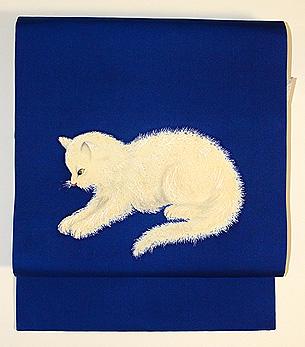 白い子猫の染名古屋帯