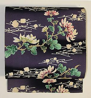 常盤色菊花に箔散らし文名古屋帯