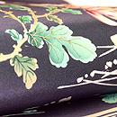 常盤色菊花に箔散らし文名古屋帯 質感・風合