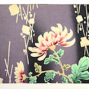 常盤色菊花に箔散らし文名古屋帯 前中心
