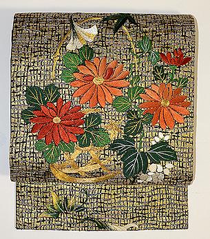 花籠に菊刺繍名古屋帯