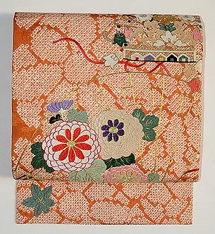 扇面に菊花刺繍名古屋帯