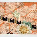 扇面に菊花刺繍名古屋帯  前中心