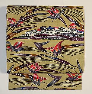 琉球風景に鳥の図本紅型開き名古屋帯