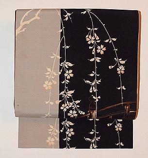 枝垂れ桜の染名古屋帯