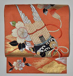 笙と桜の刺繍開き名古屋帯
