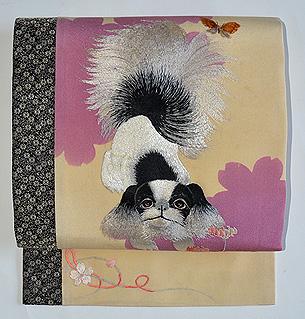 春花に犬の図刺繍名古屋帯
