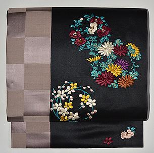 花丸文刺繍名古屋帯