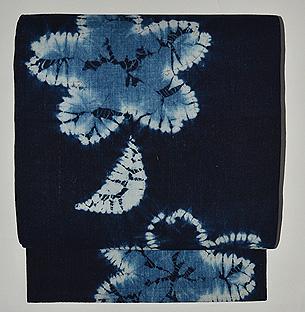 藍染桜文様名古屋帯