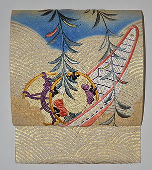 柳に舟刺繍名古屋帯