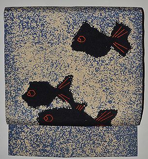 魚の染め名古屋帯