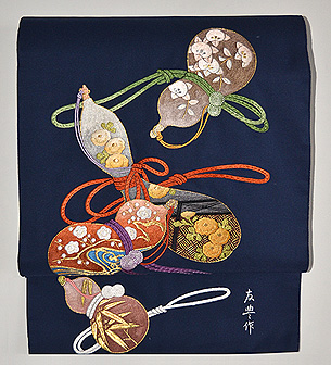綴に六つ瓢箪の刺繍帯 帯吉製作