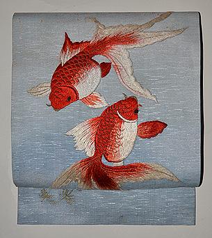 金魚の図刺繍名古屋帯