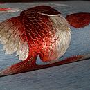金魚の図刺繍名古屋帯 質感・風合