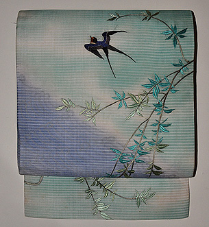 柳に燕絽名古屋帯