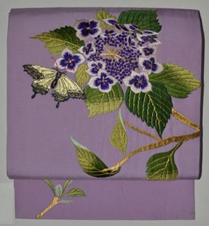 紫陽花に蝶々刺繍名古屋帯
