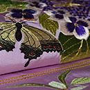 紫陽花に蝶々刺繍名古屋帯 質感・風合