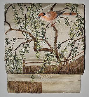 枝垂れ柳にヒレンジャク名古屋帯