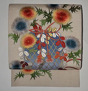 あざみに籠の図刺繍開き名古屋夏帯