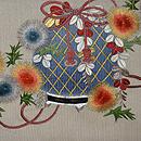 あざみに籠の図刺繍開き名古屋夏帯 前中心