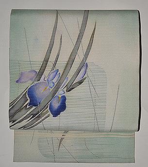 菖蒲の図絽縮緬名古屋帯