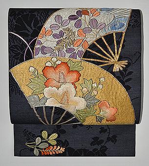 扇面に芙蓉と萩図紗名古屋帯
