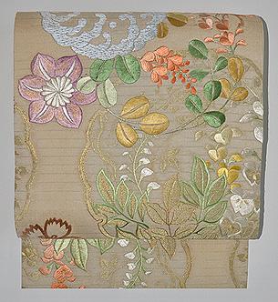 夏の花丸文刺繍袋帯