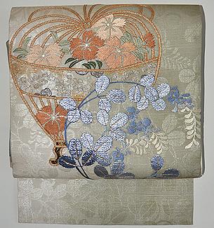 秋草に籠文様刺繍紗名古屋帯