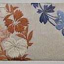 秋草に籠文様刺繍紗名古屋帯 前中心