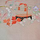 虫籠と秋の花々開き名古屋帯 前中心