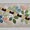 薬玉に螽斯の図刺繍名古屋帯 前中心