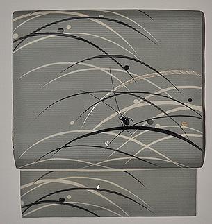 秋草に蛍の図絽名古屋帯