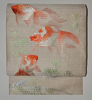 金魚刺繍夏帯